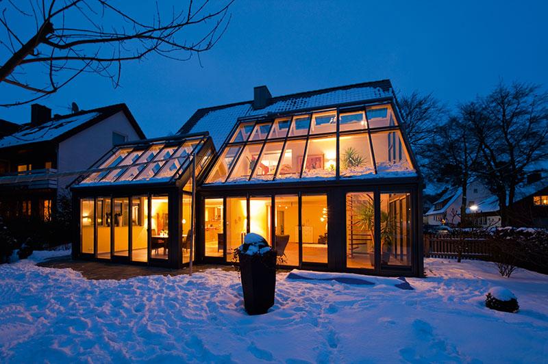 Télikert - teraszbeépítés - növények elhelyezése télen