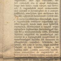 A Vagonlakók ügye- A Nép 1921. december 21.