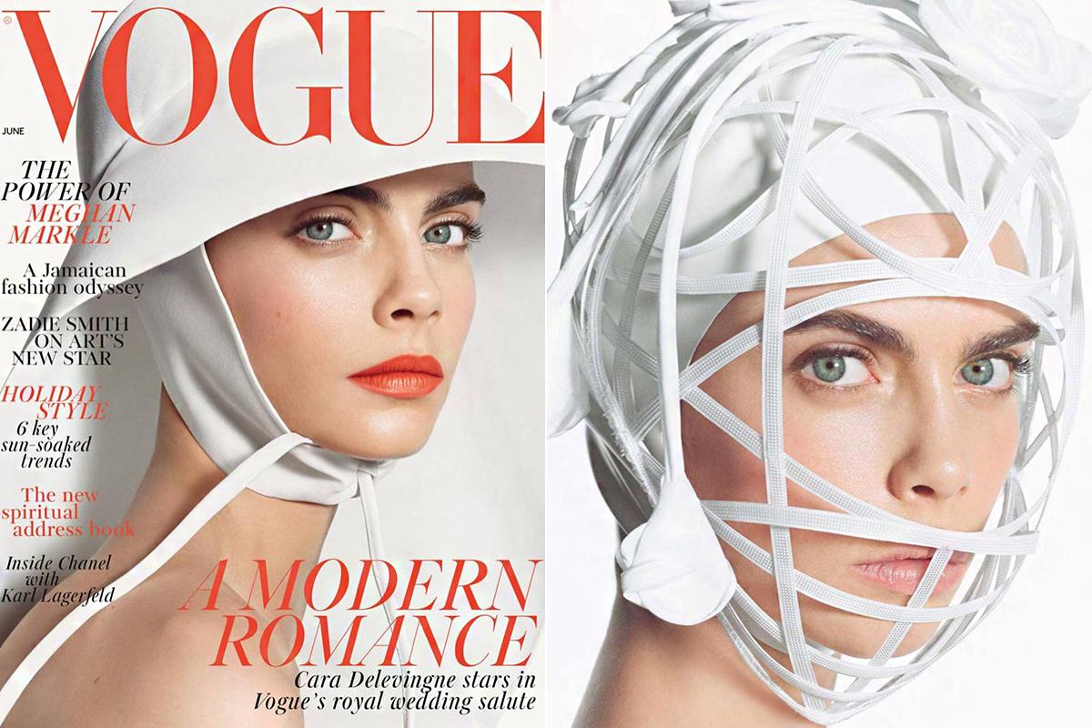 A brit Vogue júniusi borítóján egy Noel Stewart-kalapot visel Cara Delevingne. A formabontó virágos fejdíszt valószínűleg nem sokan választják majd az esküvőjükre, bár filmes jelmeznek kiváló lenne.