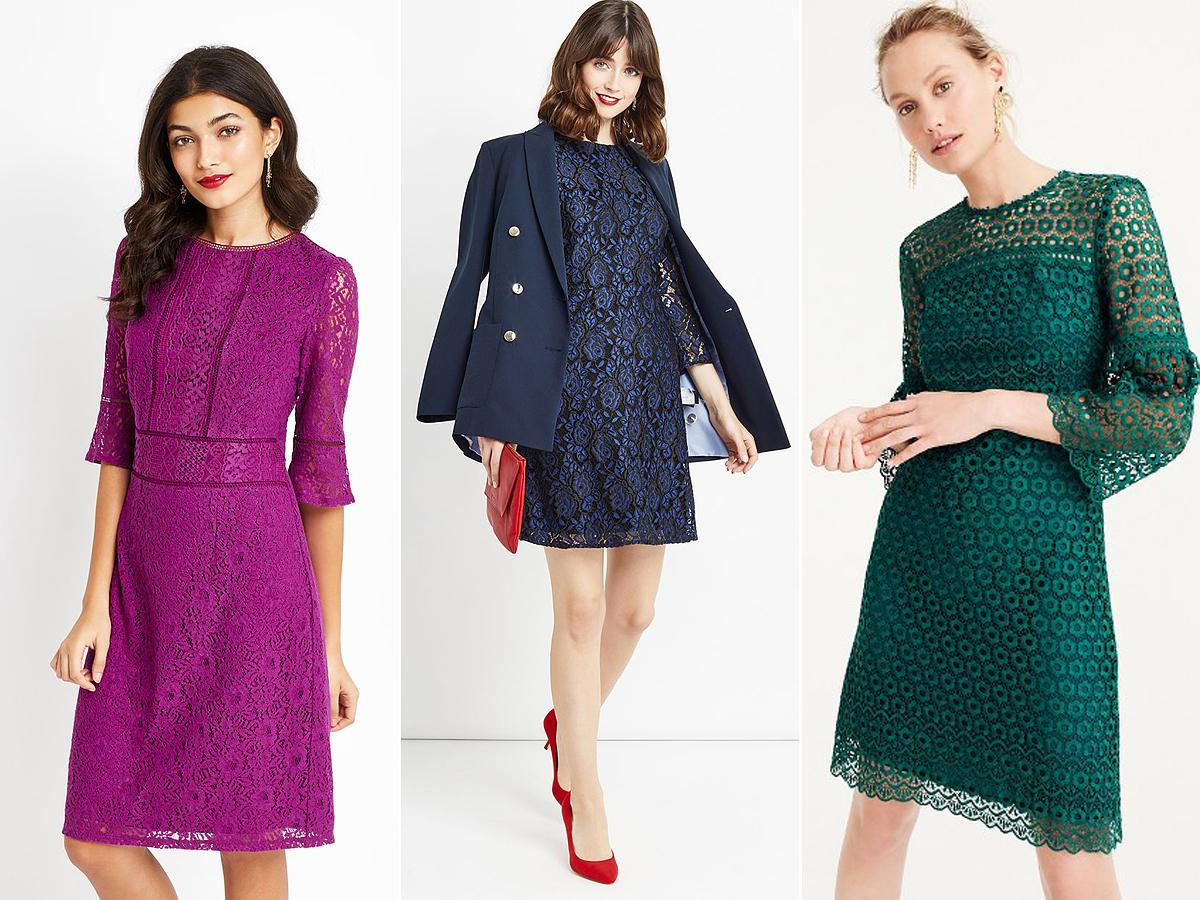 Egy elegáns, színes csipkeruha mindig jó döntés lehet. Viselheted fekete vagy a ruha színével megegyező blézerrel.