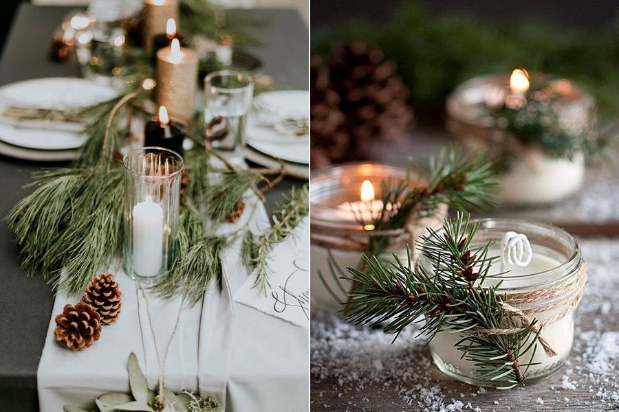 A fenyőágakat üveggel és spárgával kombinálva hangulatos mécsestartó készülhet.