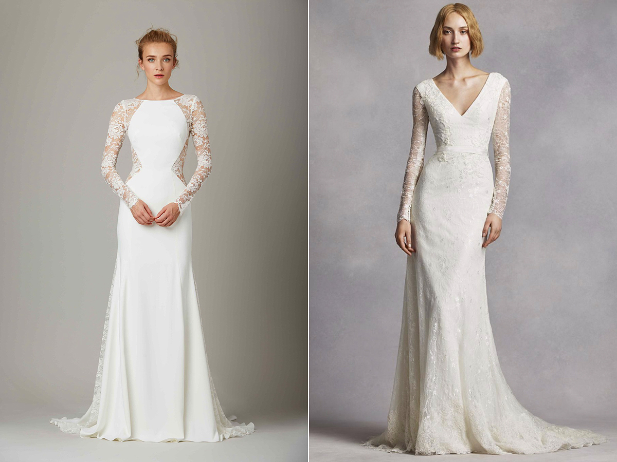 A csipkés menyasszonyi ruhák is az egyszerű eleganciát hirdetik.