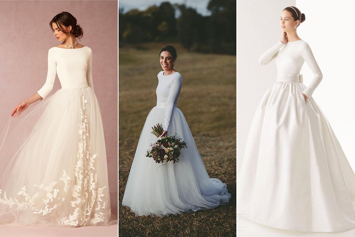 Nagyon bájosak a visszafogottan romantikus, nagy szoknyás menyasszonyi kreációk, melyeket a balerinaruhák sziluettje inspirált.