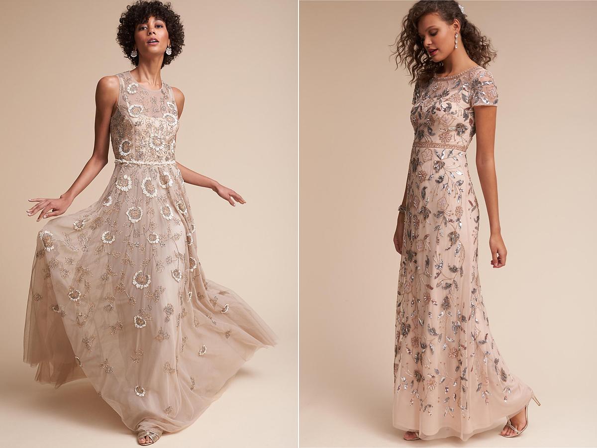 Lehet, hogy a ruha fazonja egyszerű, de az anyaga gazdagon díszített, így feltűnő, és gyönyörű maradhatsz akkor is, ha átöltözöl a szertartás után.