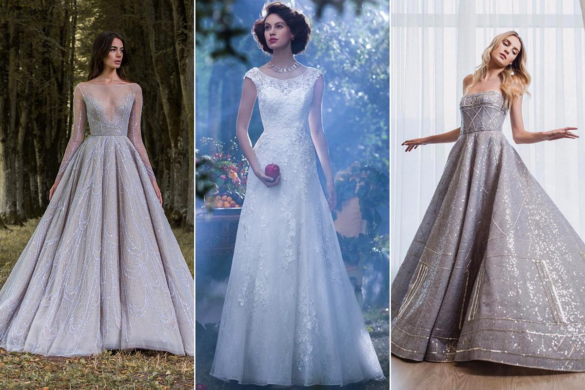 A két szélen Paolo Sebastian 2016-os, Disney ihletésű ruhái láthatók, középen pedig Alfred Angelo téli Hófehérkéje.
