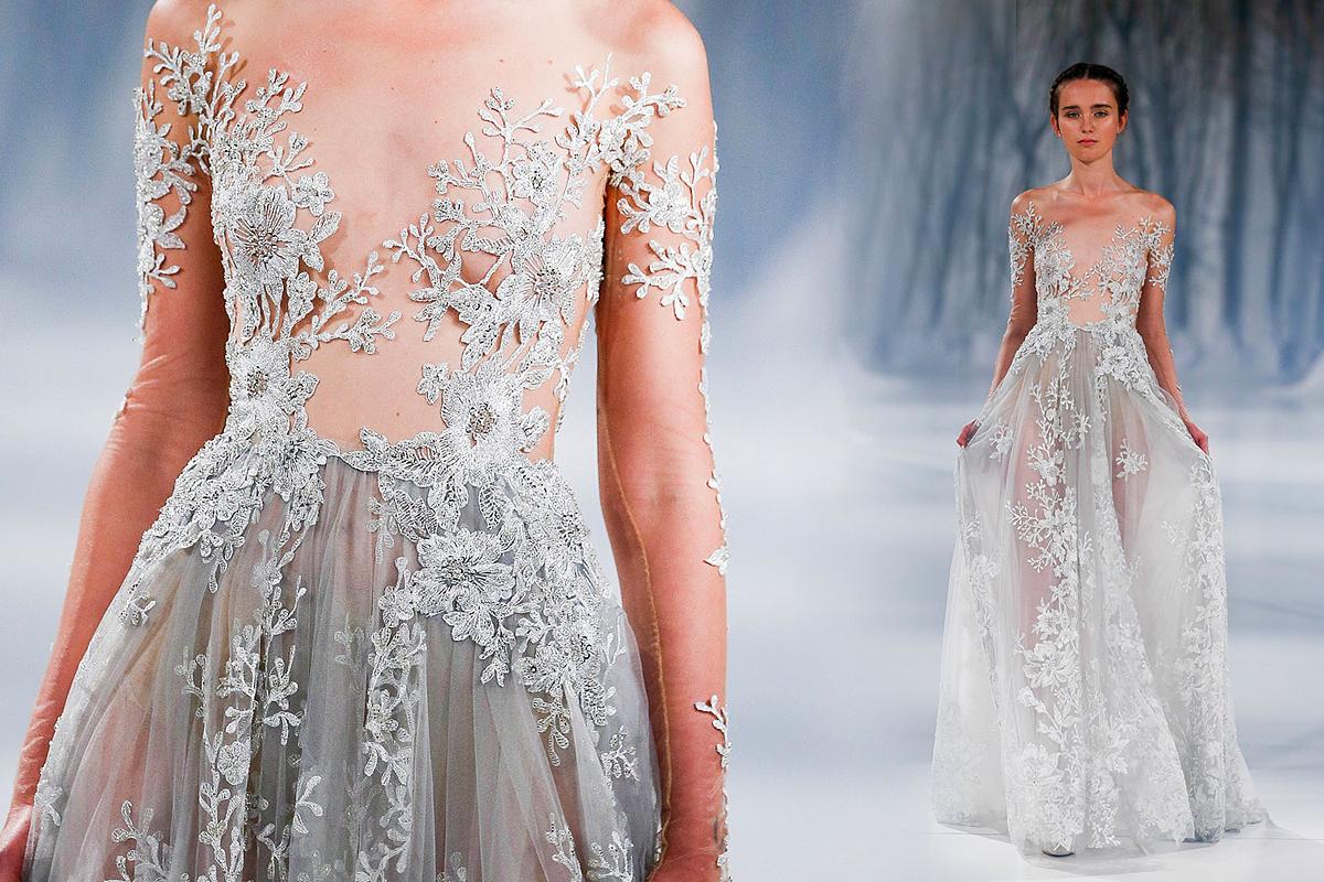 Csak a jégvirágok takarják a cicit Paolo Sebastian meseszép, tavalyi ruháján.