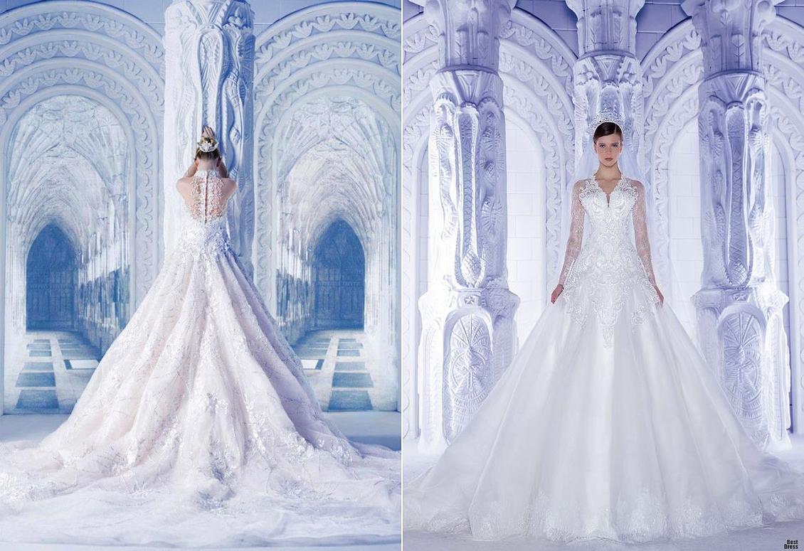 Michael Cino 2013-ban tervezett varázslatos téli ruhákat, melyeknek leomló csipkéi olyanok, mint a megfagyott hótakaró.