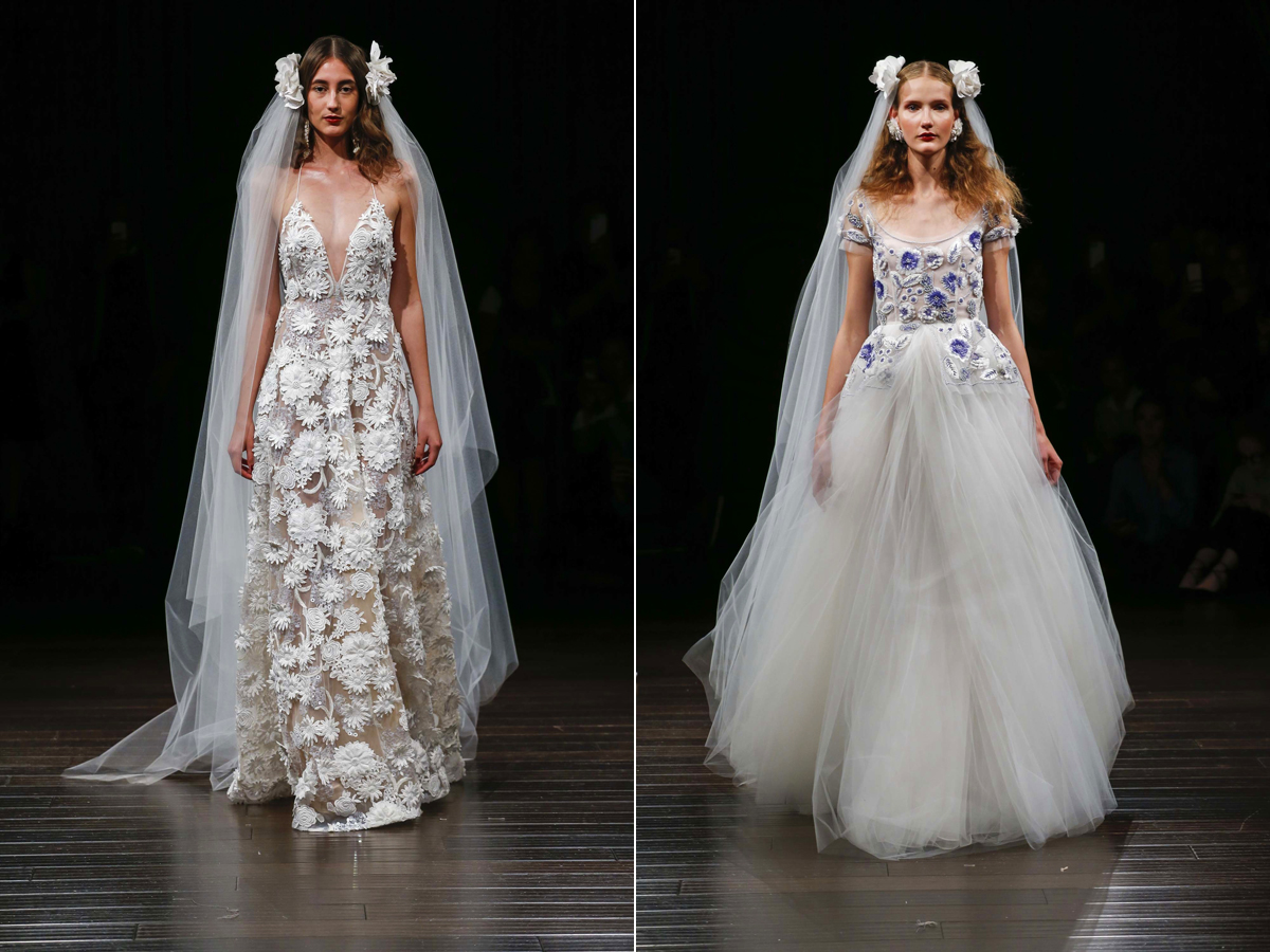 Bohém, csipkés és hímzett esküvői ruhák a Naeem Khan márkától.
