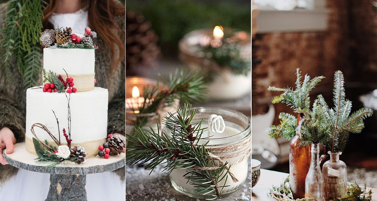 Esküvői dekorációk fenyőággal - Télies és romantikus