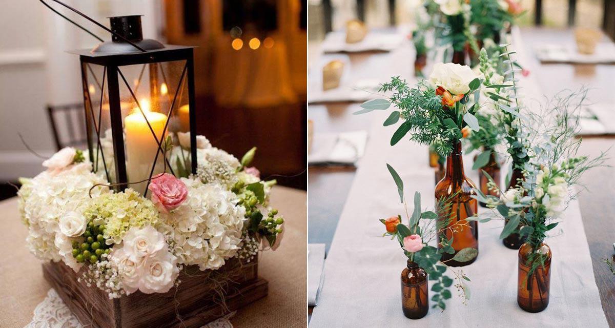 Gyönyörű esküvői asztaldíszek otthoni lakomához, képekkel