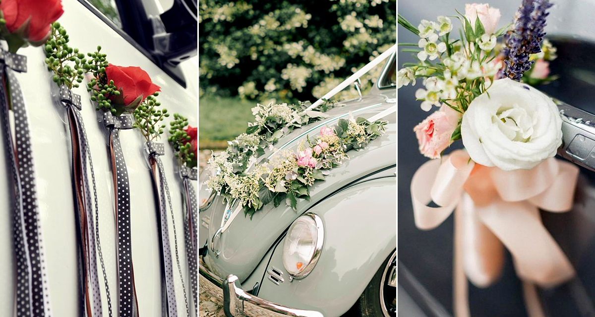 10 gyönyörű kocsidekor, hogy stílusosan érkezzen a menyasszony