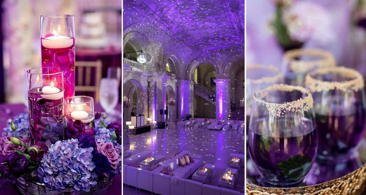 Az év színe az esküvőn: gyönyörű, ultraviola dekorációk
