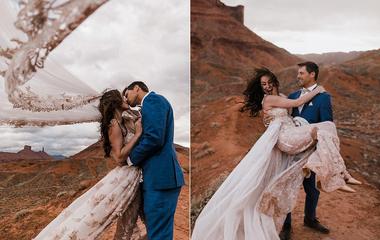 Esküvő a kanyon felett: ennél őrültebb szertartást még nem láttunk