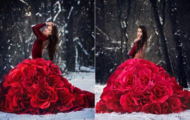 Gyönyörű ruhák papírrózsából: a női szépséget szimbolizálják