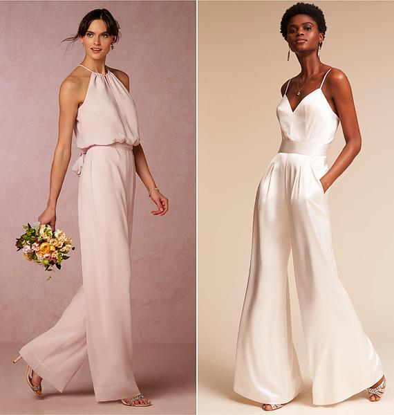 Ez a két darab tökéletesen passzol art deco stílusú esküvőkhöz. Ugyanakkor lengék, nyáriasak, könnyedek és elegánsak. Ha nem akarsz feszengős esküvőt, érdemes az efféle overallokat is számba venni.