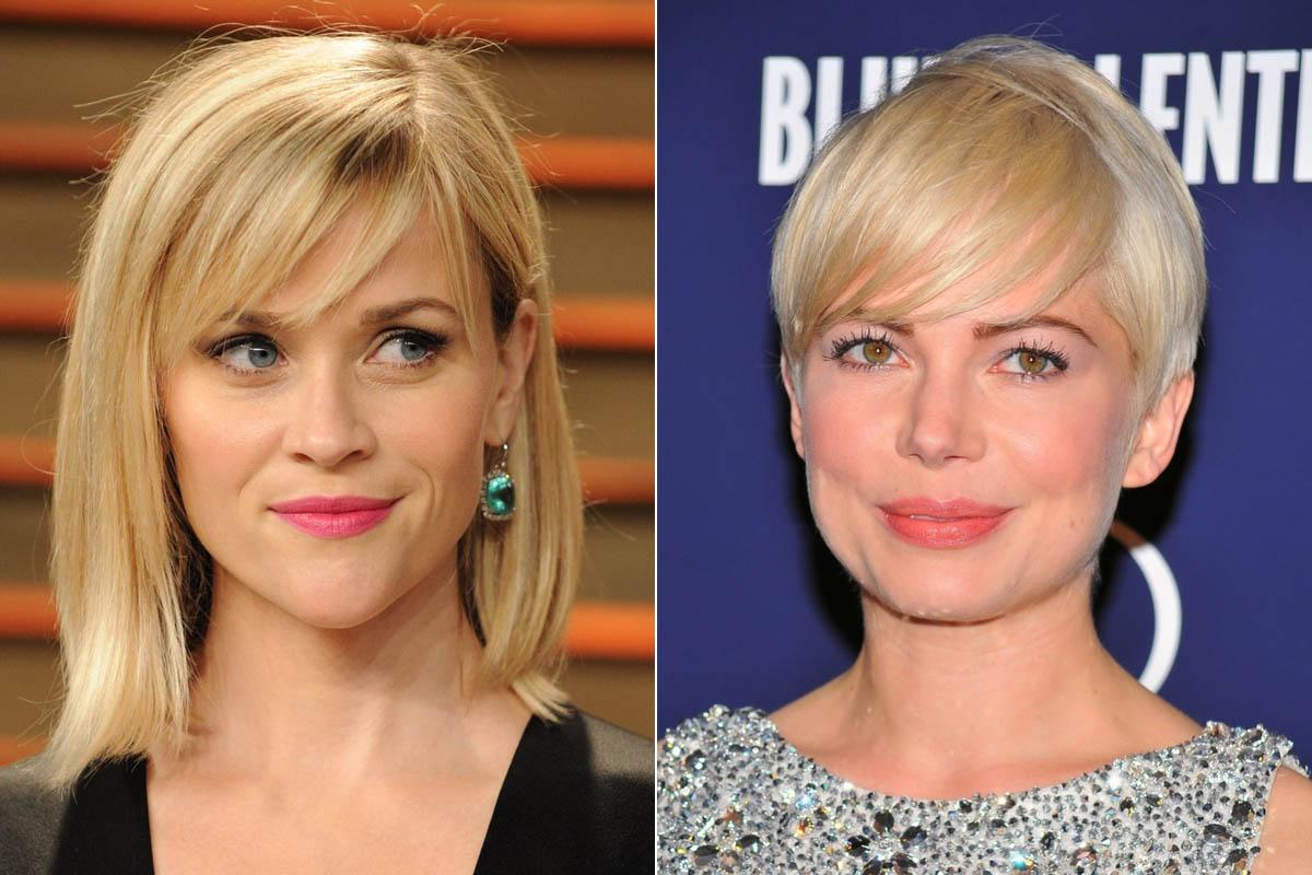 Reese Witherspoon szív alakú arcához az oldalra fésült, ritkára szedett frufru passzol, hiszen lefarag picit a széles homlokából. Michelle Williams kerek arcát pedig tökéletesen keskenyíti ugyanaz a fazon.