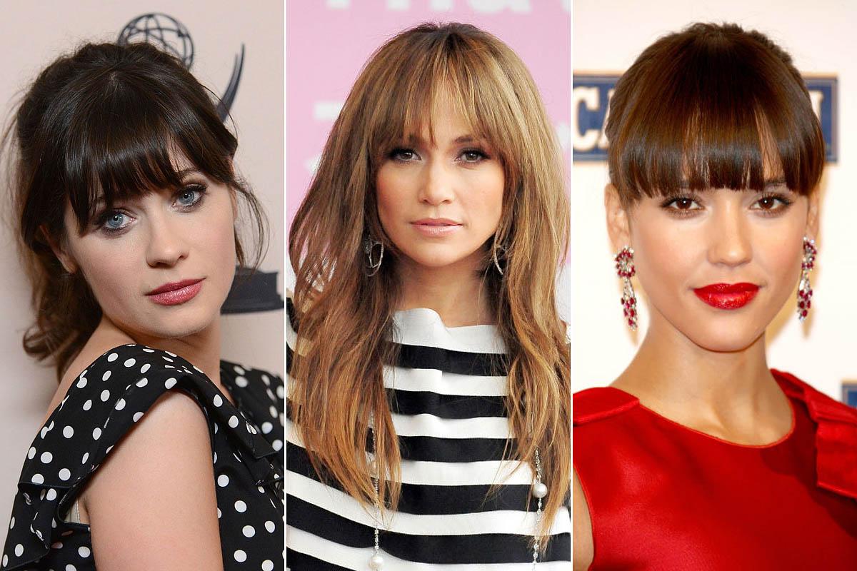 Zooey Deschanel, Jennifer Lopez és Jessica Alba gyönyörű szemeit kihangsúlyozza a szemöldökig érő, retró frufrufazon.
