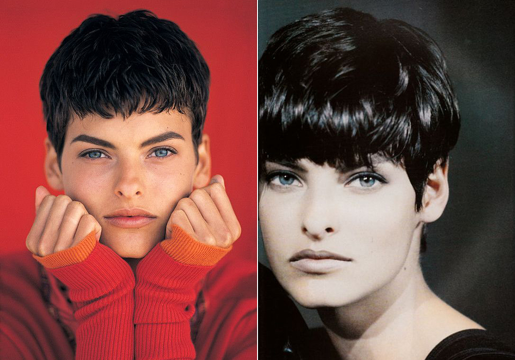 Amikor a nyolcvanas évek végén ilyen rövid fazonú frizurát vágatott magának Linda Evangelista, hatalmas divathullámot indított el, mely átgyűrűzött a kilencvenes évekbe. Demi Moore is az ő hatására váltott hasonló, rövid frizurára.