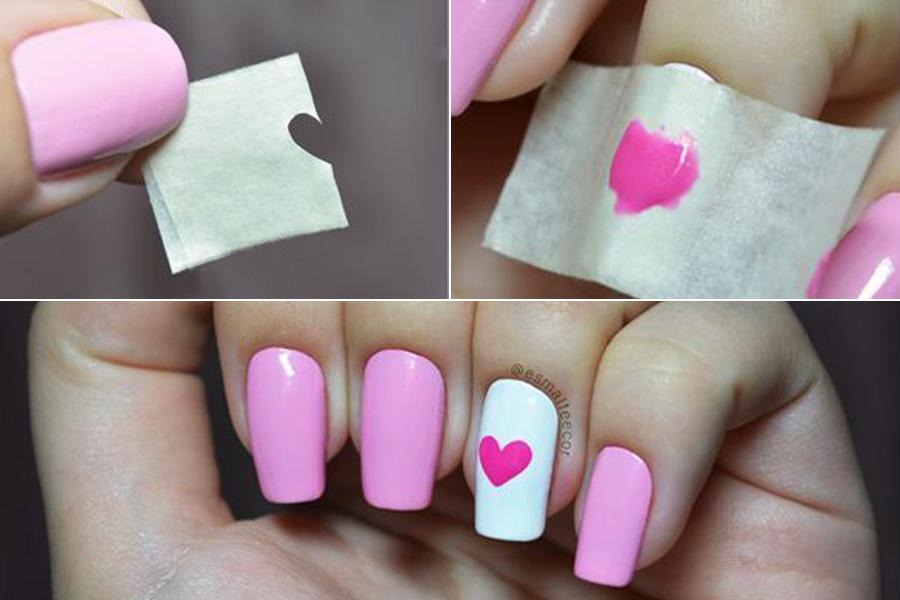 Egyszerűen készíthetsz szívecskét: hajts félbe egy jól tapadó, puha papírcsíkot, kisollóval vágj ki belőle egy fél szív alakot, majd fektesd a körmödre, és használd sablonként.