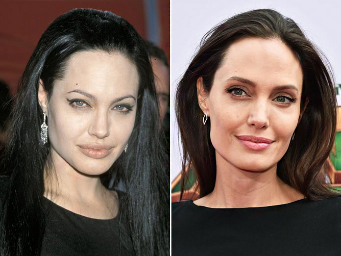 Egy új szemöldökfazon teljesen meg tudja változtatni a tekintetet, illetve az egész megjelenést. Nyilván, a két kép között sok idő telt el, illetve a smink is teljesen más, de azért jól látszik, mit köszönhet Angelina Jolie a vastagabb szemöldöknek. Sokkal elegánsabb így az összkép, és az arca is szelídebb lett.