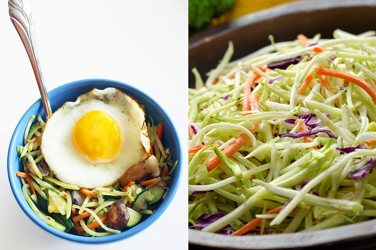 Brokkolisaláta tükörtojással: az úgynevezett brokkoli slaw a káposztasaláta változataihoz hasonló étel, csak a káposzta helyettesítésére nyers, aprított brokkoliszár szolgál. C-vitaminban és rostban gazdag saláta, mely tojásos feltéttel fogyasztva pótolja az edzés során felhasznált fehérjemennyiséget. Összesen 347 kalória van benne, és 14,8 gramm proteint tartalmaz. A hagyományos brokkoli slaw majonézben tocsog, ám ezt az összetevőt ajánlott elhagyni, ha egészséges, könnyű vacsorát szeretnél.