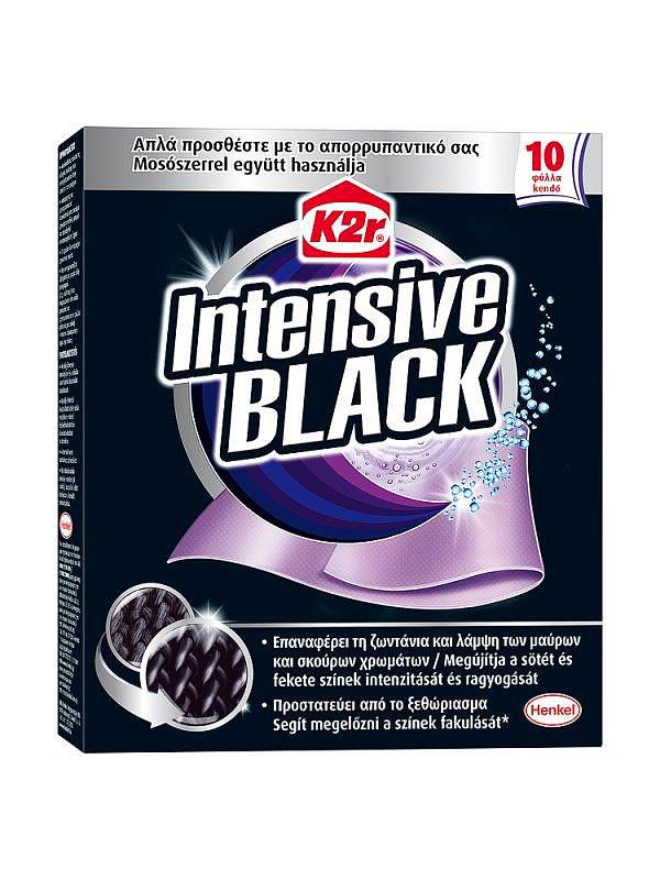 A K2r intenzív black színmegújító kendőt hagyományos mosóporral együtt használhatod. Csak dobd be a mosógépbe, és a rózsaszínes lapocska amellett, hogy megakadályozza a textilszálak bolyhosodását, a fakulás ellen is védelmet nyújt.