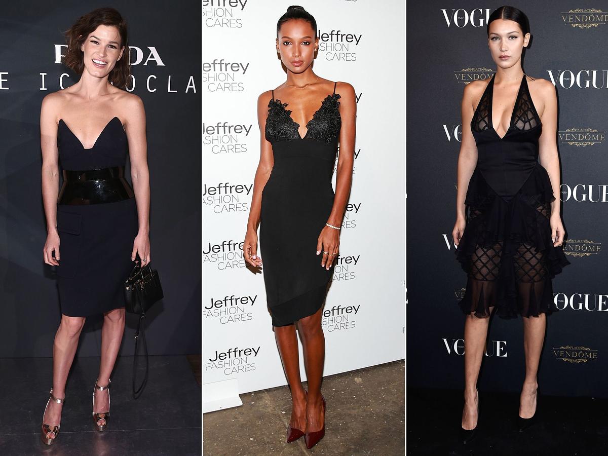 Hanneli Mustaparta, Jasmine Tooks és Bella Hadid felejthetetlen dekoltázst villantottak kis fekete ruhájukban.