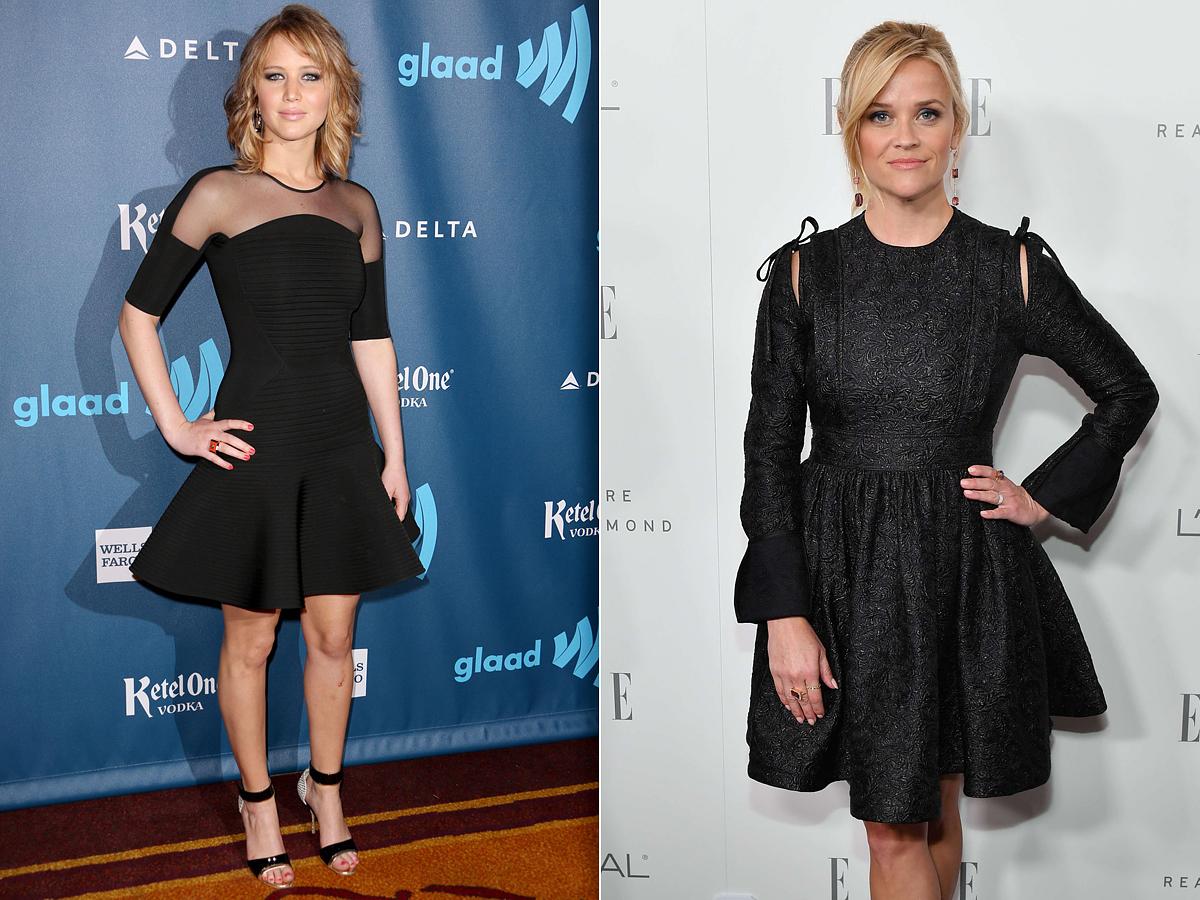 Jennifer Lawrence vállát sejtető, harangszabású ruhába bújt, Reese Witherspoon választása pedig egy körszoknyás brokátruhára esett, mely szintén megvillantja picit a vállakat.