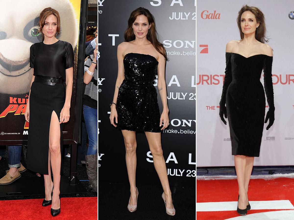 Angelina Jolie gyakran jelenik meg fekete estélyiben vagy koktélruhában, ha az esemény megkívánja az elegáns öltözéket. A vintage, a klasszikus és a modern stílusú darabok egyaránt jól állnak neki.