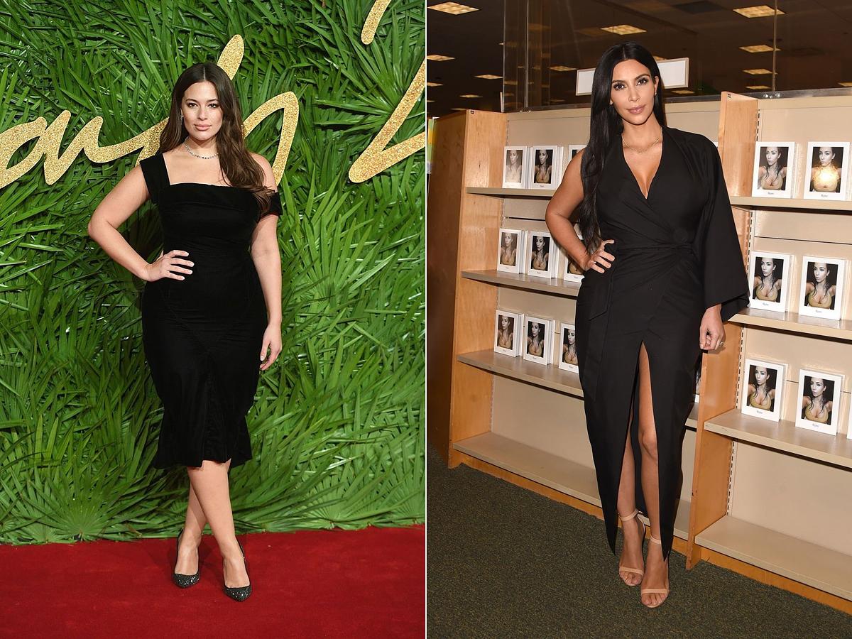 Ashley Graham és Kim Kardashian egyaránt kedveli az olyan fazonokat, melyek karcsúsítják a derékvonalat. Ashley dekoltázsa egy picit visszafogottabb, és a lábát is csak térdtől lefelé tette közszemlére.