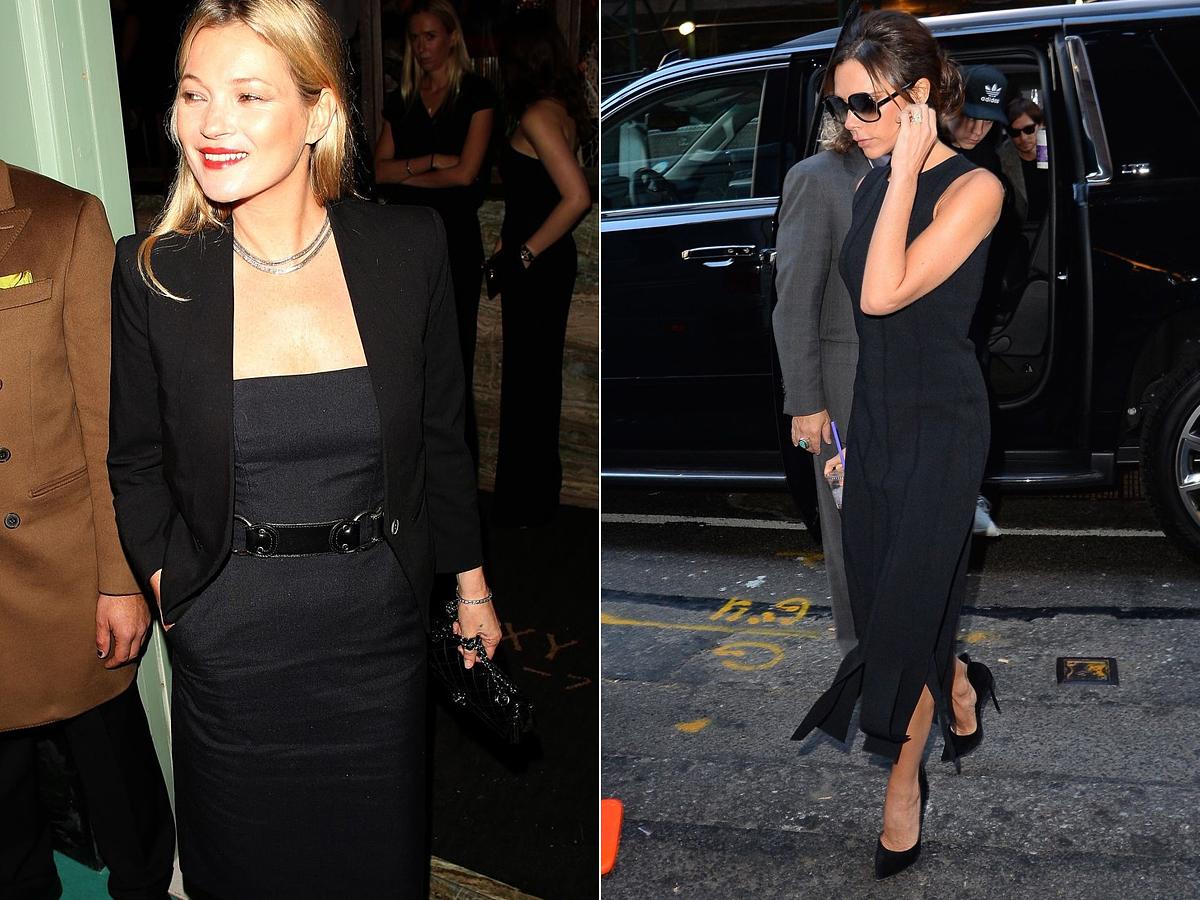 Kate Moss és Victoria Beckham is szolidan elegáns fekete kosztümruhájában.