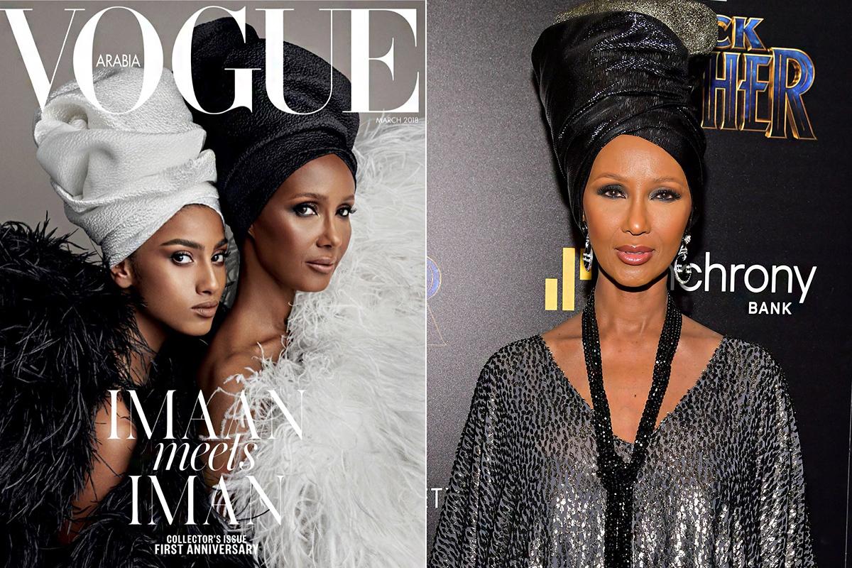 Rendhagyó módon, három címlapot is kapott a Vogue Arabia tavaszi kiadása. Patrick Demarchelier Saint Laurent-ruhákban és Wrap Life-turbánokban fotózta a 21 és a 62 éves modellt. Iman annyira megszerette a turbánokat, hogy néhány rendezvényen is hasonló stílusban jelent meg.