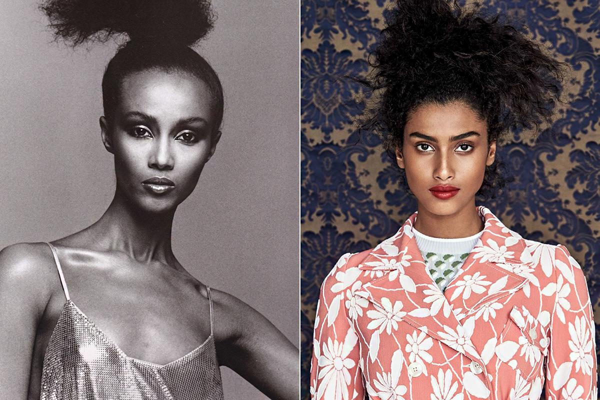 Iman a kilencvenes években, és napjaink topmodellje, Imaan Hammam. Bár nem egészen egyformák, tényleg feltűnő a hasonlóság.