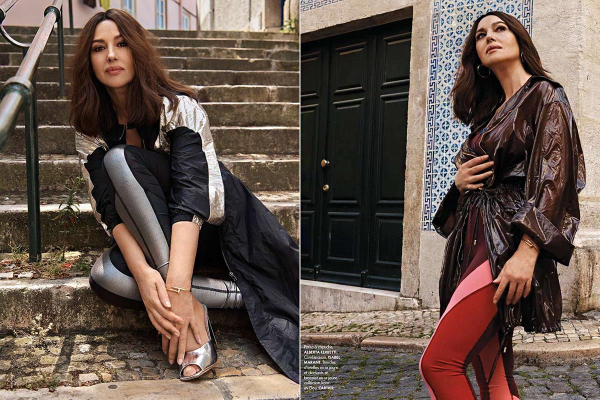 Monica Bellucci a Fendi, a Gucci, Michael Kors és Isabel Marant kollekciójának darabjait viseli az összeállításban.