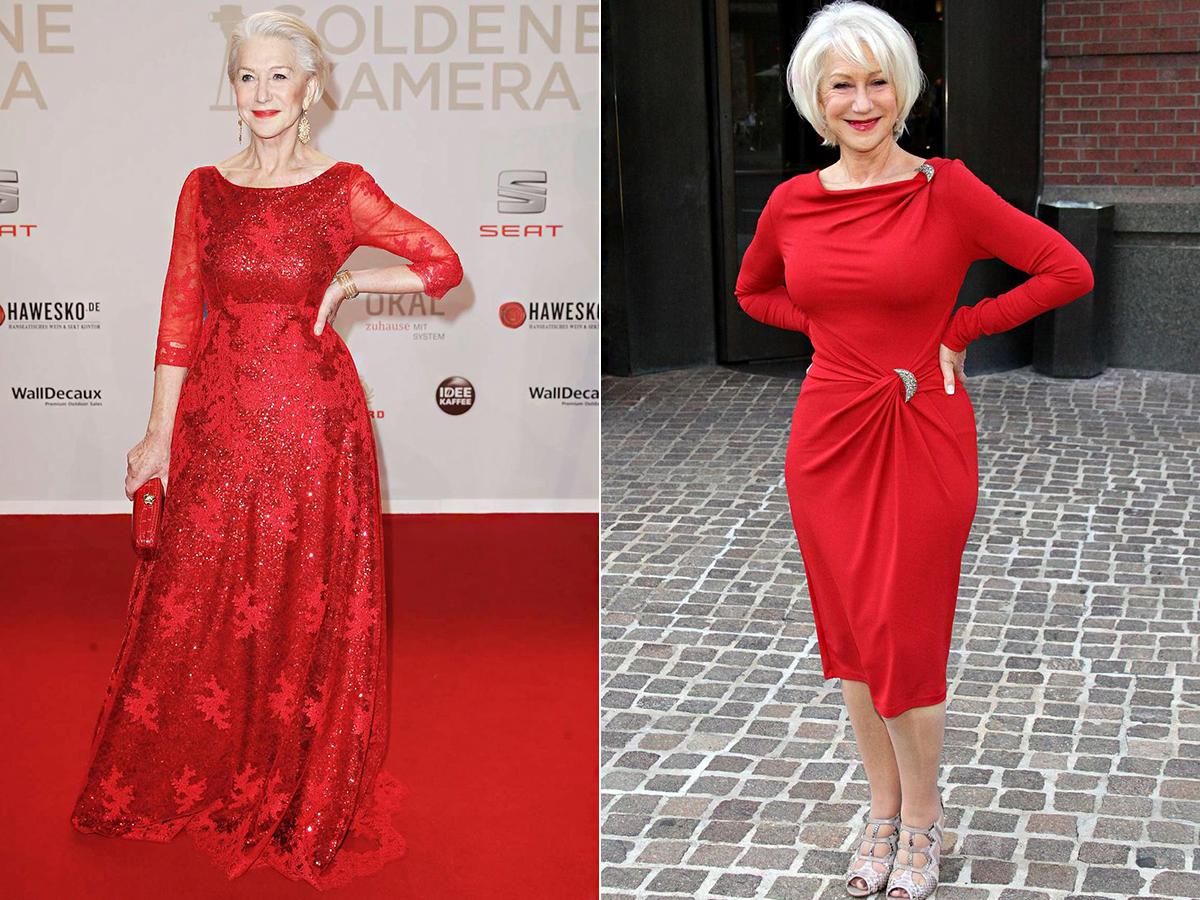 Helen Mirrenről nehéz elhinni, hogy 72 éves. Azt viseli, ami tetszik neki, és a tűzpirostól sem idegenkedik.