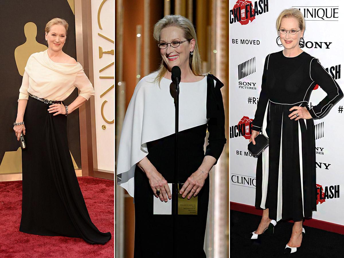 A 68 éves Meryl Streep csupa báj és elegancia: a fekete-fehér, illetve a fekete-krémszín variációját érdemes ellesni tőle.