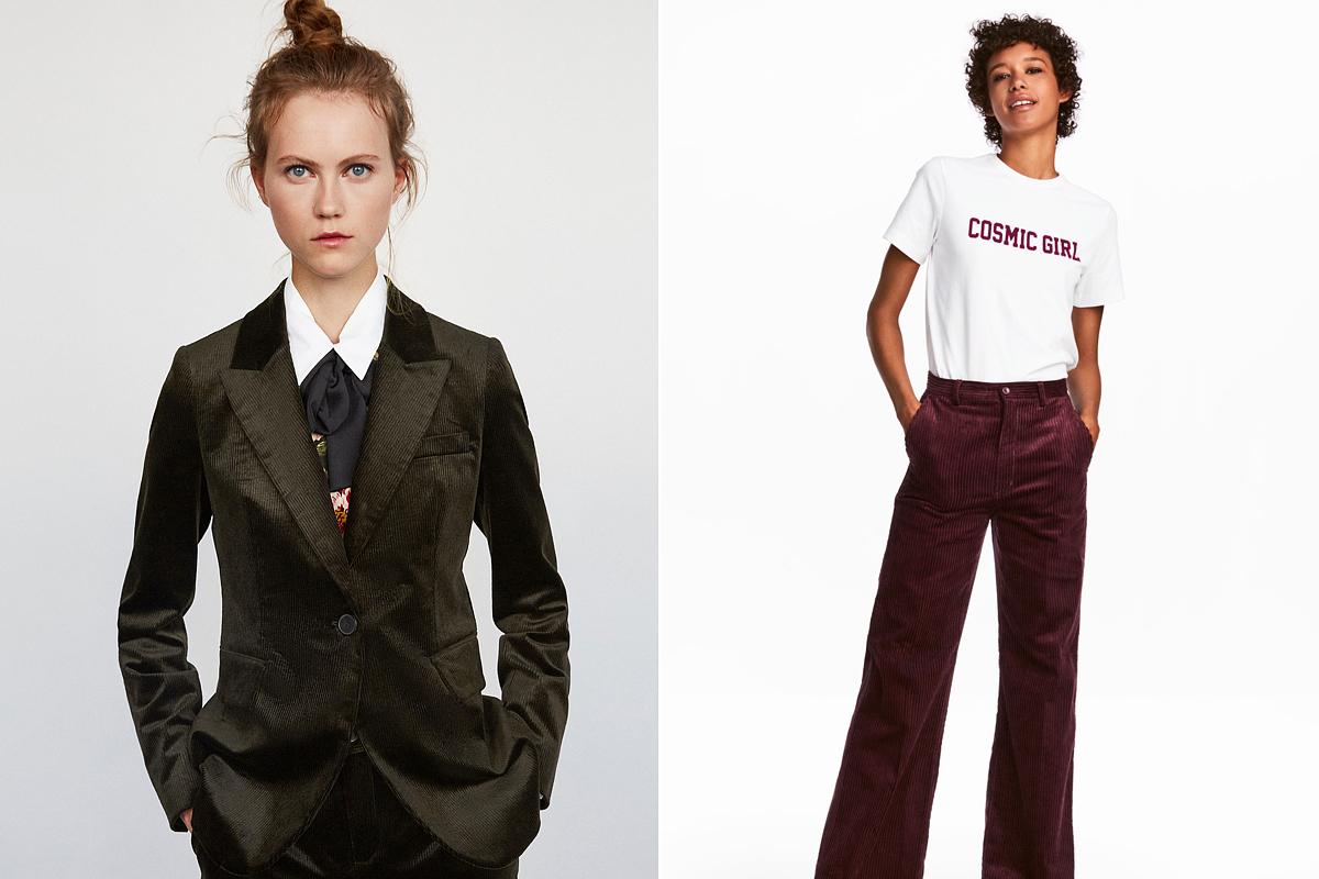 Férfiasan nőies, kordbársony cuccok: a Zara zakója 22 995 forint, a H&M bővülő szárú nadrágja 12 990 forint.