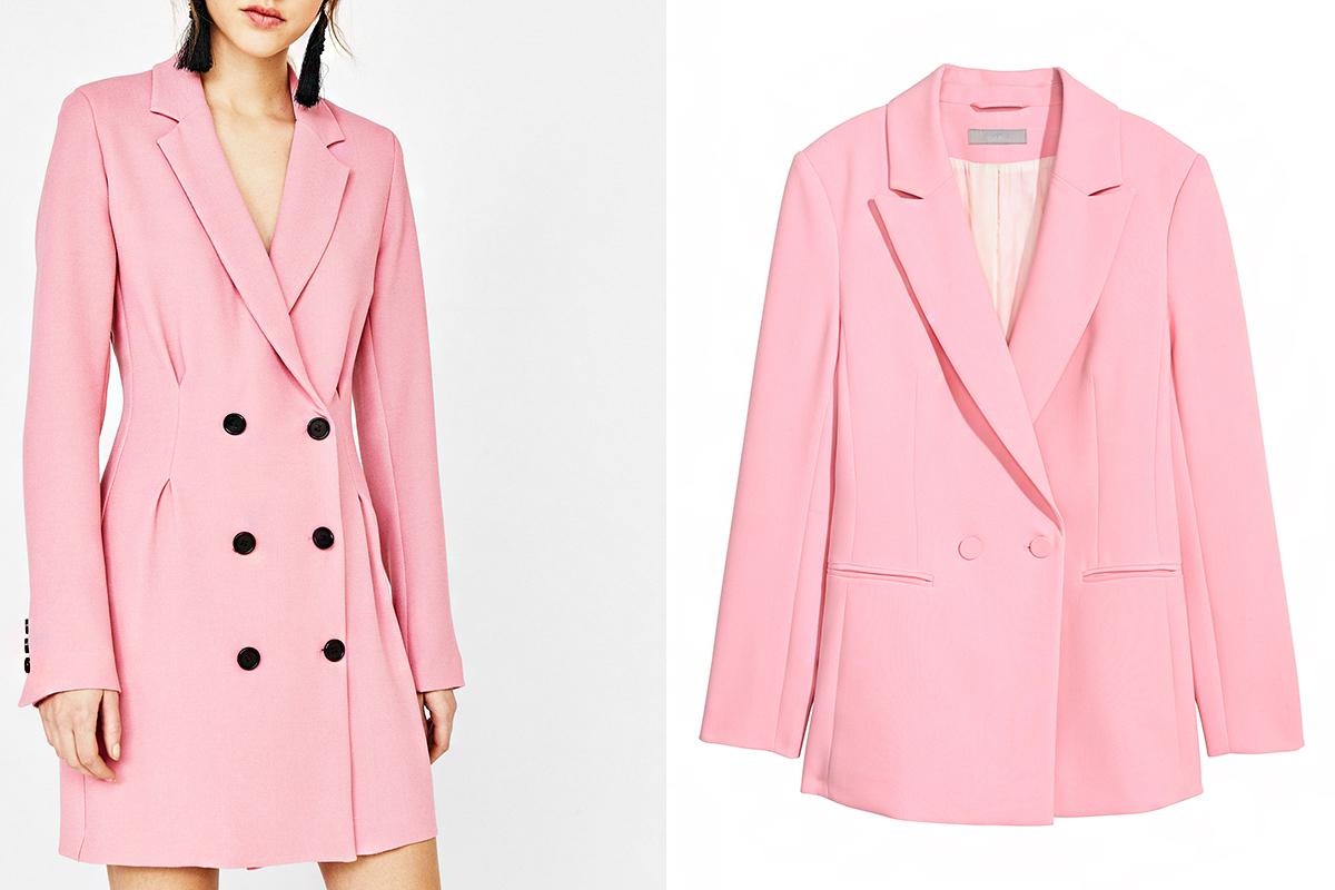 Púderrózsaszín blézerekből idén nincs hiány: a Bershka ruha típusú darabja 9995 forintért, a H&M retró változata 9990 forintért lehet a tiéd.