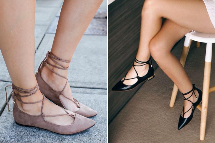Továbbra sem mennek ki a divatból a lapos talpú, hegyes orrú, fűzővel ellátott balerinacipők.