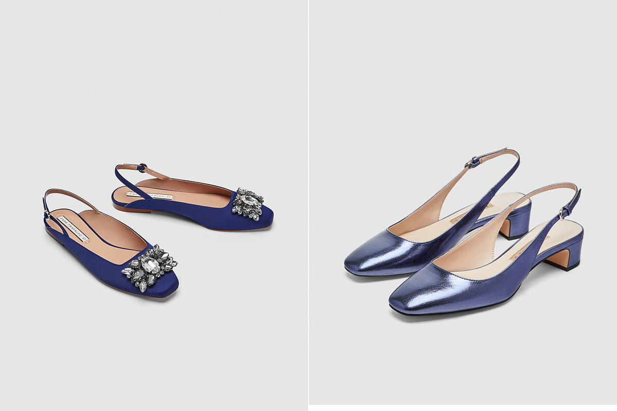 A Zara lapos talpú és törpe sarkú változatban kínál hátul nyitott balerinafazonokat, csillogó köves díszítéssel és fémhatású borítással. Mindkét darab 8995 forint.