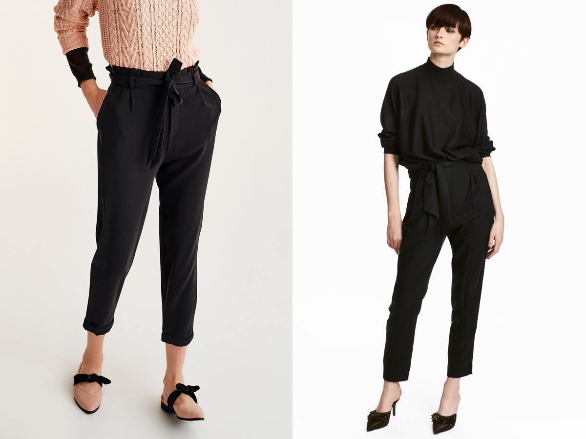Mindig tuti nyerő a fekete, megkötős derekú nadrág, hiszen egyszerre laza és nőies. A bal oldali a Pull & Bear darabja, mely 4995 forintért kapható. A jobb oldali a H&M kreációja, 8990 forintért.