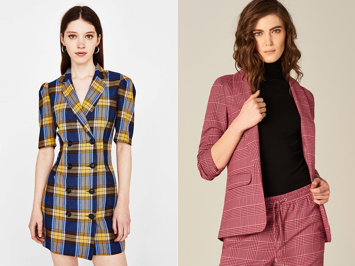 A színes, plédkockás ruhadarabok most nagyon divatosak: a Bershka blézerruhája 12 995 forintba, a Mohito blézere 14 995 forintba kerül.