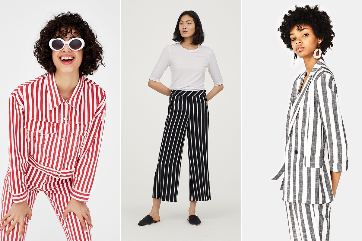 A függőleges csíkok most sokkal menőbbek, mint a vízszintesek: a Pull&Bear dzsekije 9995 forint, a H&M nadrágja 6990 forint, a Bershka blézere 9995 forint.
