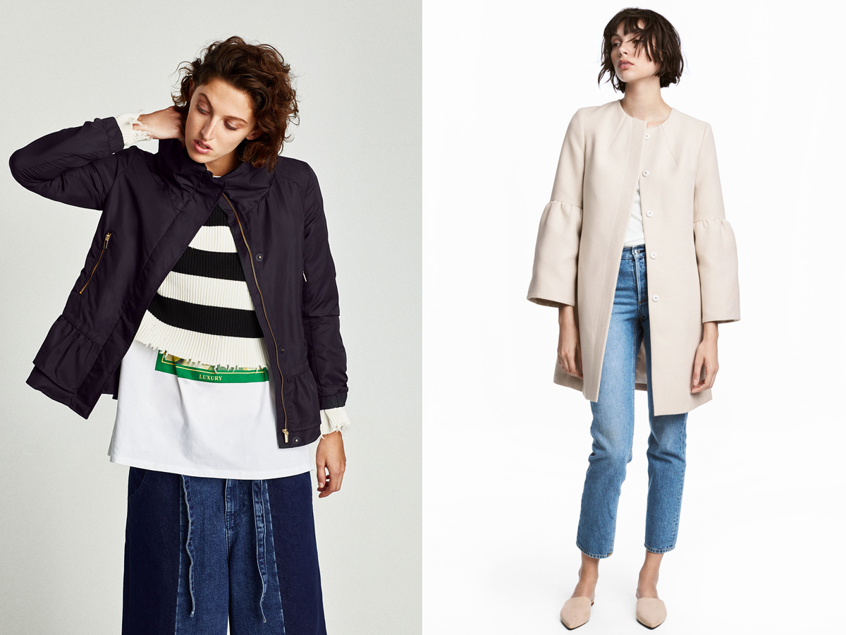 Az enyhén fodros ujj- és derékszabás nőiesebbé teszi az egyszerű vonalakat: Zara 15 995 forint, H&M 17 990 forint.