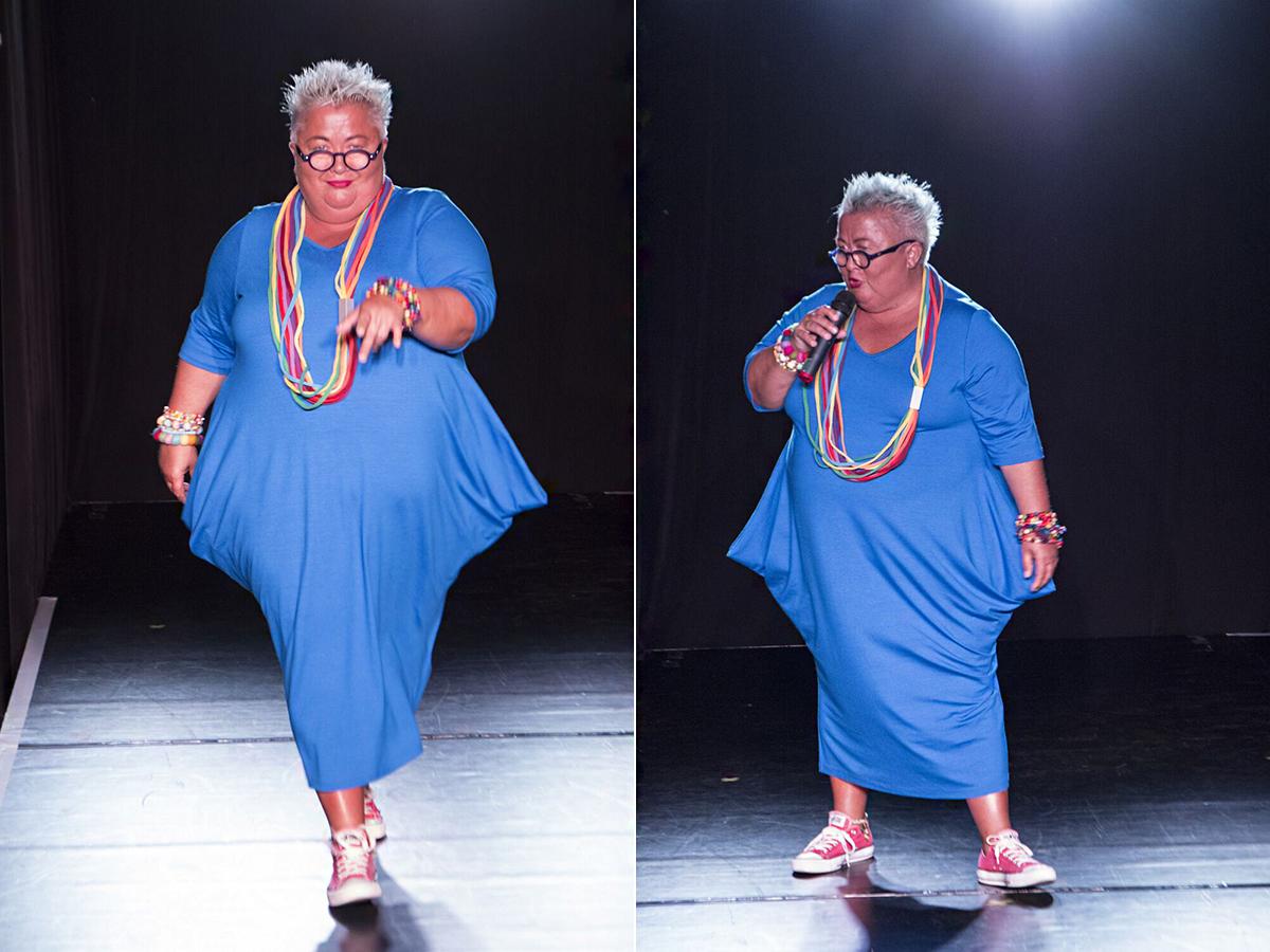 Falusi Mariann, az est házigazdája beleszeretett a fiori fashion által tervezett ruhába, melyet a színpadon viselt.