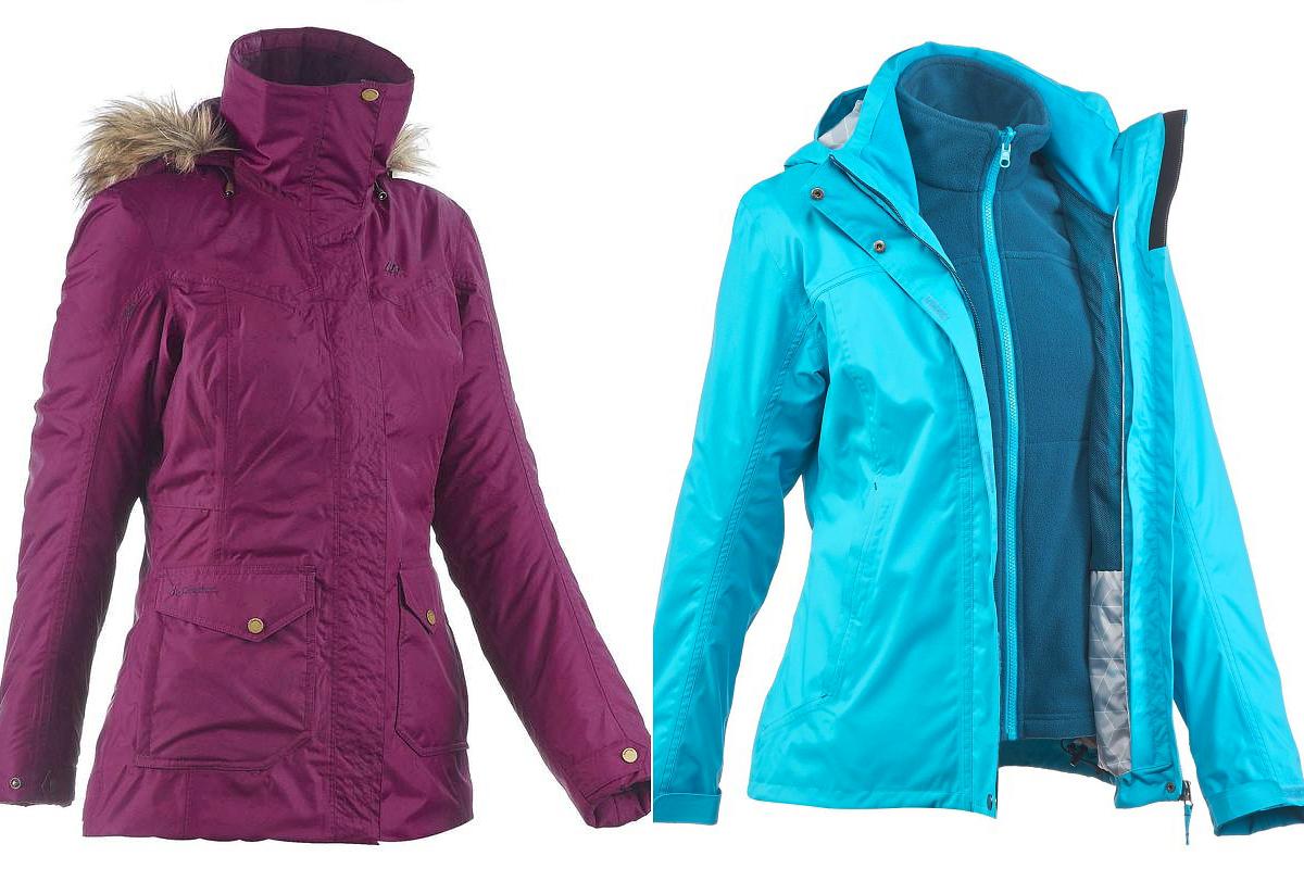 Quechua hőtartó női kabát havas terepen tett kirándulásokhoz: Decathlon, 24 990 forint. Quechua esőálló, szélálló és hőtartó, három az egyben kabát hosszú túrázásokhoz: Decathlon 14 990 forint.