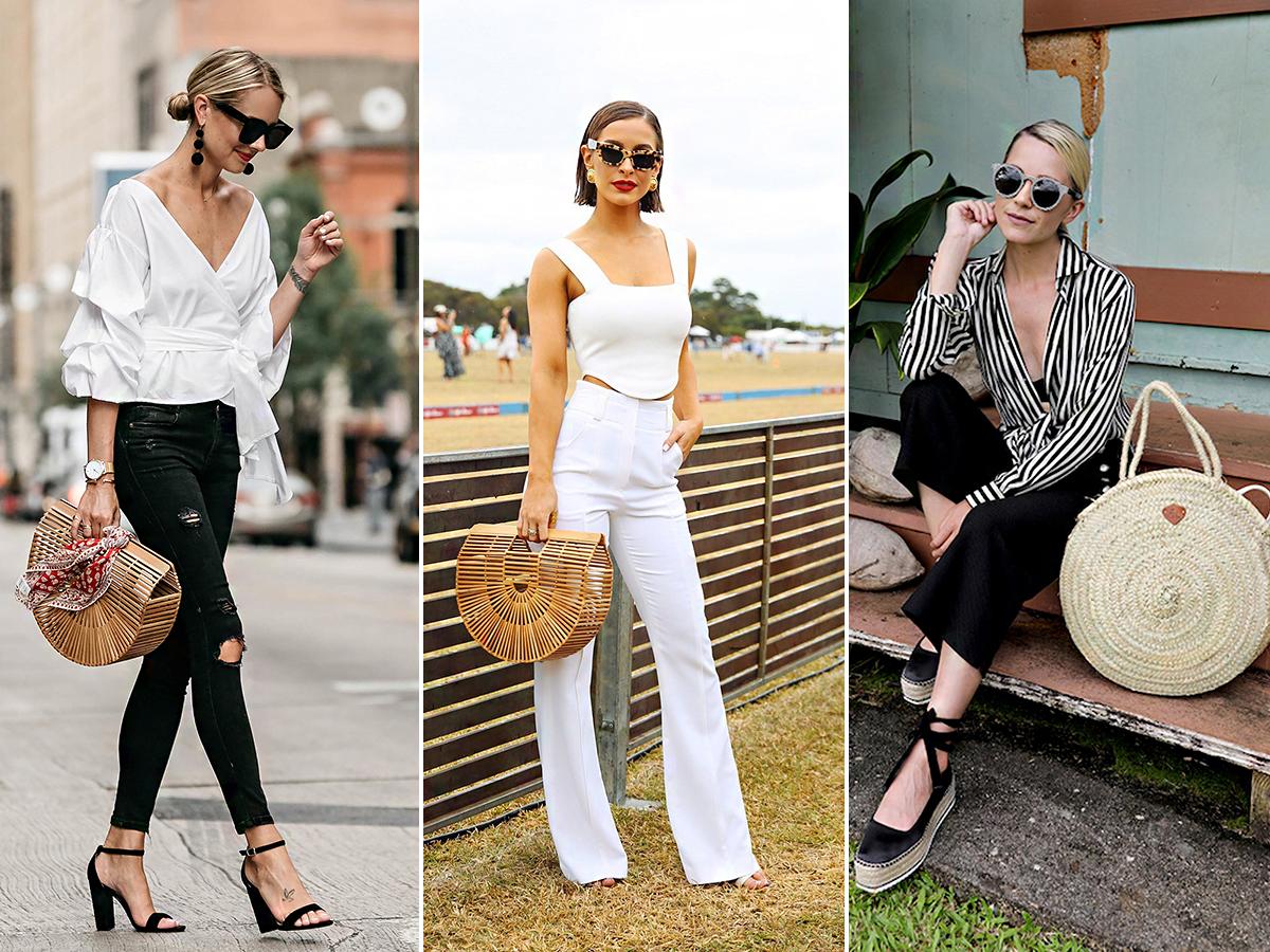 Fekete-fehér, minimál és elegáns stílusú öltözékbe is beültetheted  a szalmatáskát.