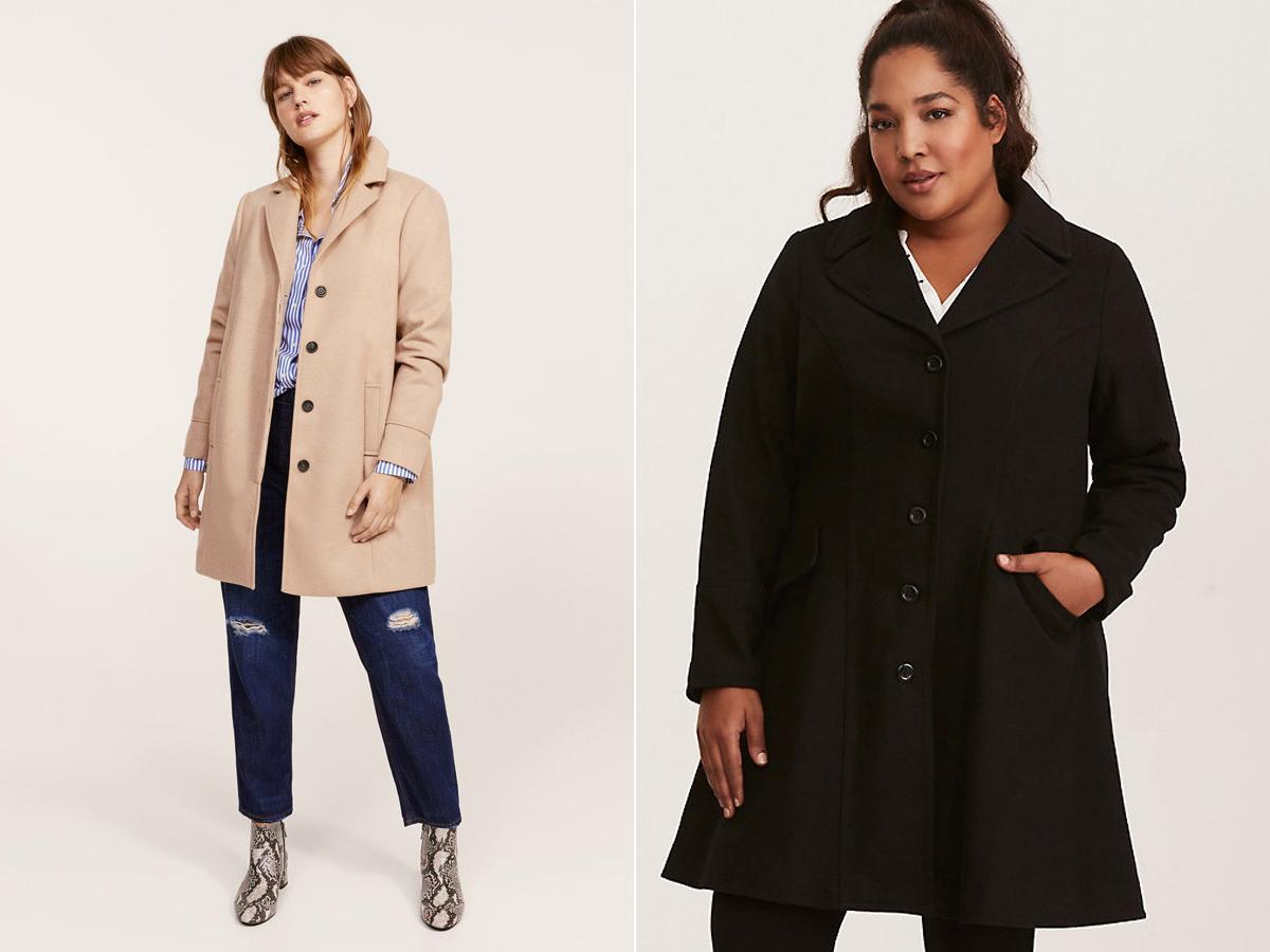 Az enyhén bővülő, A-vonalú kabátok kényelmesek, valamint a keskenyebb lábakra terelik a figyelmet. A Mango plus size vonalán, a Violeta kollekcióban és a Torrid kínálatában találsz ilyen kreációkat.
