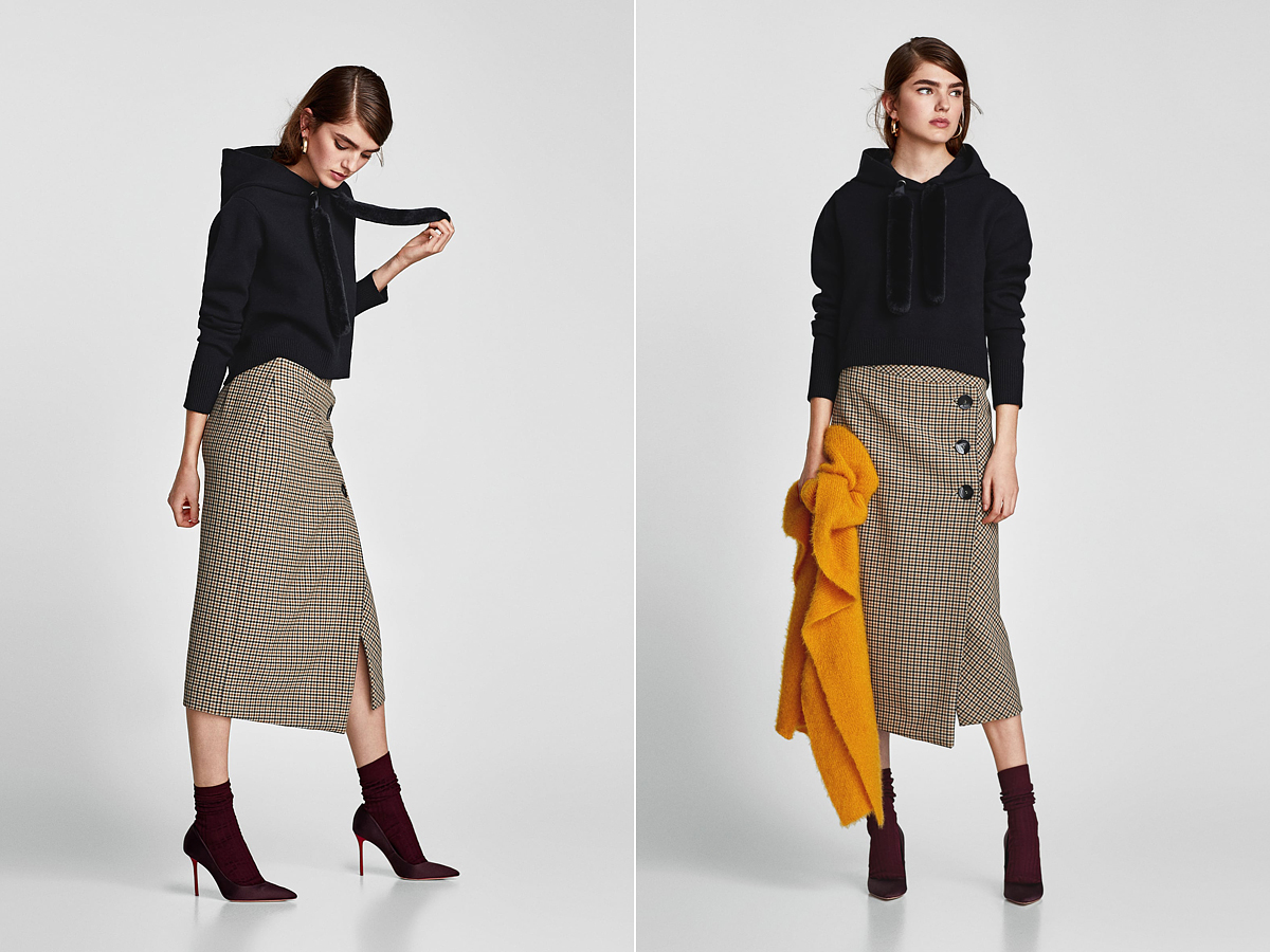 Nőies szoknyával is jól mutat a Zara kapucnis pulóvere. Az ára: 9995 forint.