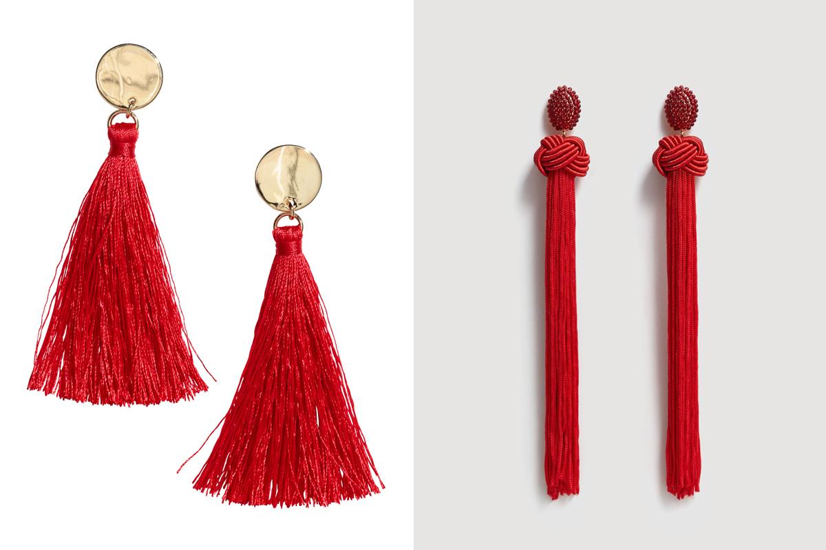 A hosszú, bojtos és gyöngyláncos fülbevalók piros színben igazán jól illenek a Valentin-nap hangulatához, mégsem giccsesek vagy gyerekesek. A H&M arany-vörös kreációja 1790 forintért, a Mango csavart változata 4595 forintért kapható.